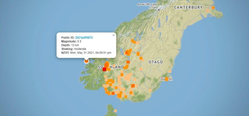 Magnitude 5.5 Earthquake strikes lower South Island